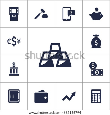 set of 13 finance icons set