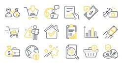 Set of Finance icons, such as Add purchase, Fast payment, Loyalty gift symbols. Salary, Diagram graph, Global business signs. Shopping cart, Rejected payment, Savings insurance. Checklist. Vector