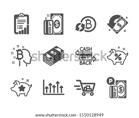 Set of Finance icons, such as Bitcoin think, Payment, Shopping cart, Loyalty points, Parking payment, Checklist, Cashback, Usd currency, Refresh bitcoin, Growth chart, Loan percent. Vector