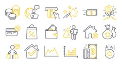 Set of Finance icons, such as Cashback, Diagram, Tips symbols. Credit card, Loyalty points, Bitcoin project signs. Money transfer, Loyalty star, Loan house. Wallet, Vip shopping, Dot plot. Vector