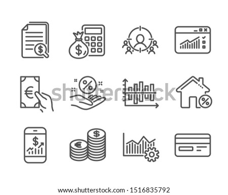 Set of Finance icons, such as Credit card, Finance calculator, Web traffic, Finance, Loan house, Business targeting, Financial documents, Currency, Loan percent, Operational excellence. Vector