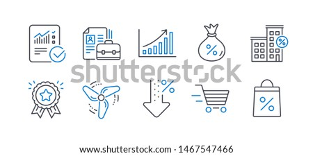 Set of Finance icons, such as Low percent, Wind energy, Graph chart, Checked calculation, Vacancy, Loyalty award, Delivery shopping, Loan, Loan house, Shopping bag line icons. Vector