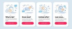 Set of Finance icons, such as Loyalty points, Cashback, Euro money symbols. Mobile screen app banners. Survey checklist line icons. Bonus bags, Non-cash payment, Receive cash. Report. Vector
