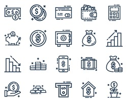 Set of Financial icon vector illustration in outline style.Money or wealth icon set for logo,web,landing page, stickers, and background