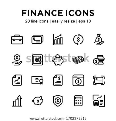 Set of financial line icon, containing icons such as money, charts, calculators, piggy banks, and others with a white background.