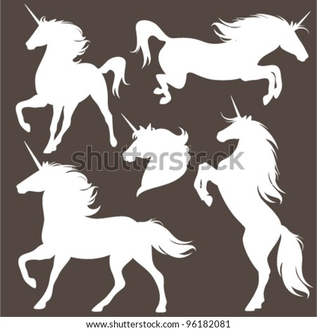 set of fine unicorn silhouettes