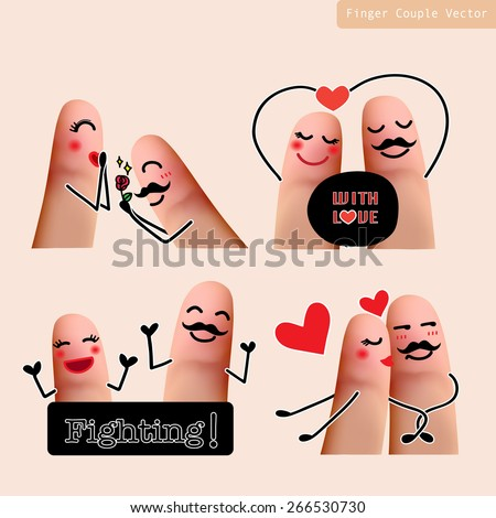 set of finger lover couple in