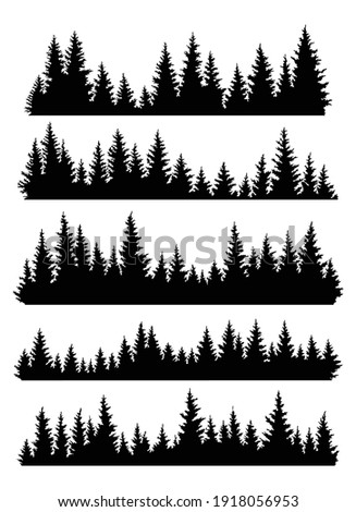 set of fir trees silhouettes