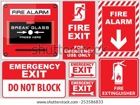 Set of  Fire Alarm (fire alarm, break glass, press here, fire exit, for emergency use only, emergency exit, do not block, fire extinguisher), easy to modify