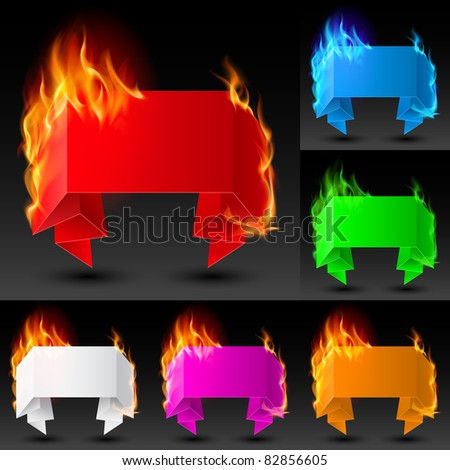 Set of Fire banners. The illustration on white background for the design