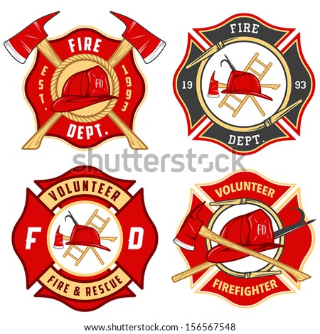 set of fire department emblems