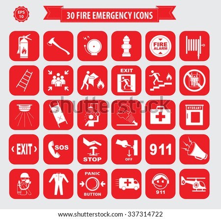 Set of Fire Emergency Icon or Fire Emergency Alarm (fire alarm, break glass, press here, fire exit, for emergency use only, emergency exit, ladder, fire blanket, ambulance, fire extinguisher)