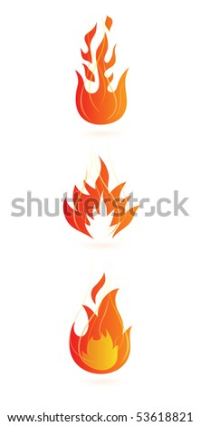 set of fire flame icons