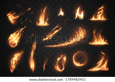 Set of fire flames elements on transparent background Foto stock ©