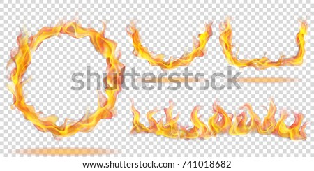 Set of fire flames in the form of ring, arc and wave on transparent background. For used on light backgrounds. Transparency only in vector format