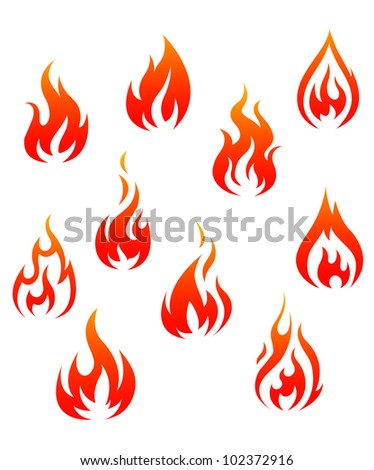 set of fire flames isolated on