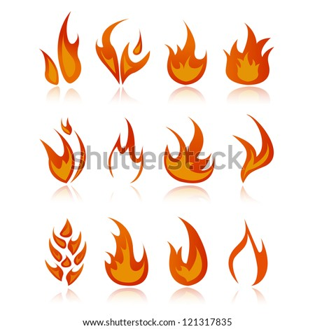 Set of fire icons.Vector illustration - isolated on white background. Logo Symbol