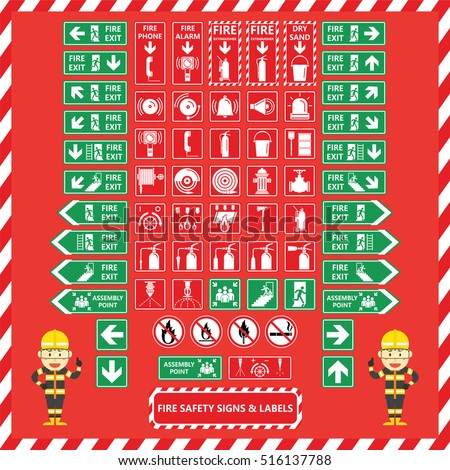 Set of Fire Safety Signs and Labels with Cute Fire Fighter Cartoon Design
