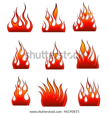 Set of fire vector icons for design use