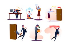 Set of fired business men and women employees with boxes. Angry bosses firing and shouting at workers dismissed from job. Upset people being kicked out of work. Unemployment flat vector illustration