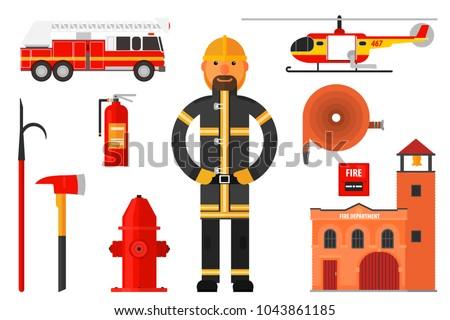 Fireman Elements - Download Free Vector Art, Stock Graphics & Images
