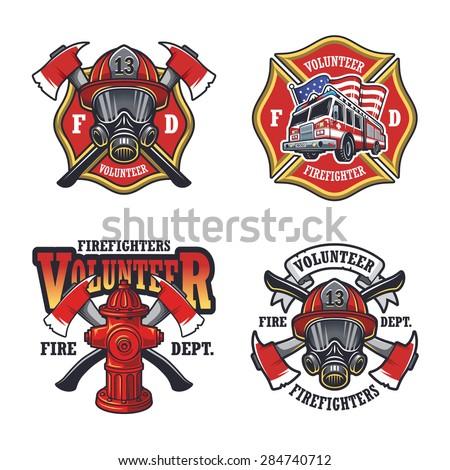 Set of firefighter emblems, labels, badges and logos on light background.