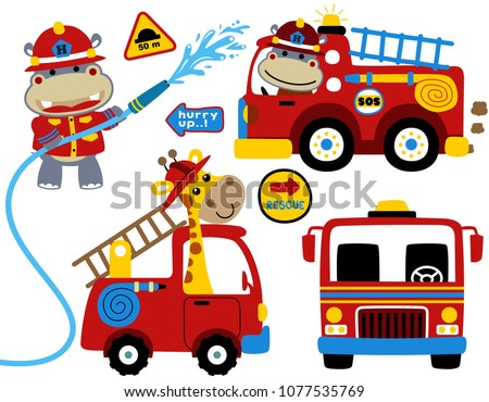 set of firefighters cartoon vector with cute fireman