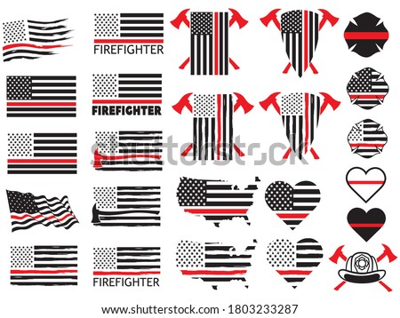 set of firefighters red thin