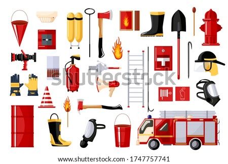 Set of fireman on white background. fire fighting vehicle and hydrant, helmet, hose, extinguisher, ladder, gas mask. Flat style vector illustration.