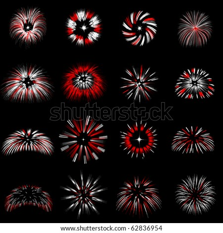 Set of fireworks explosions vector images.