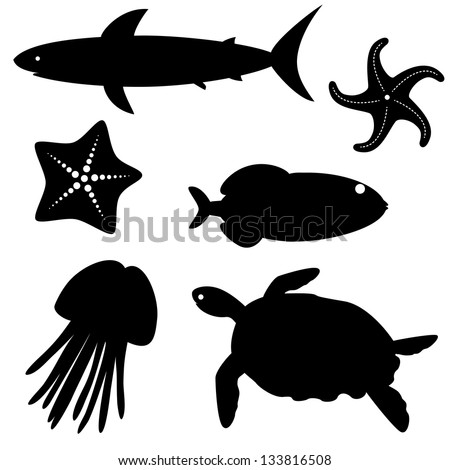 Set of fish silhouettes isolated on white