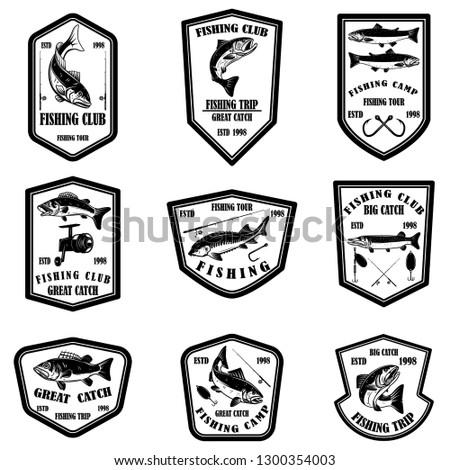 Set of fishing club emblems. Design element for logo, label, emblem, sign. Vector illustration
