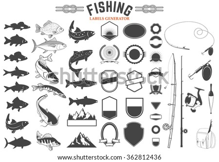 set of fishing club logo