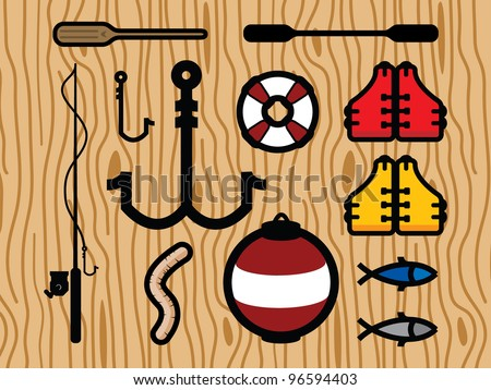 Set of Fishing Icons. Life Vests, Fish, Fishing Pole, Hooks, Paddles, Bobber and Paddles.