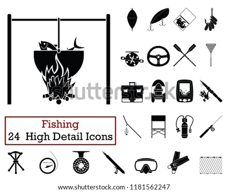 Set Equipment Icon Of Fishing Tackle Download Free Vector Art