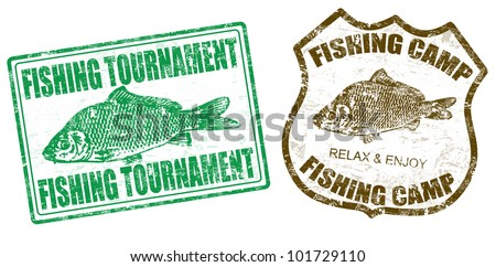 Set of fishing stamps on white background, vector illustration