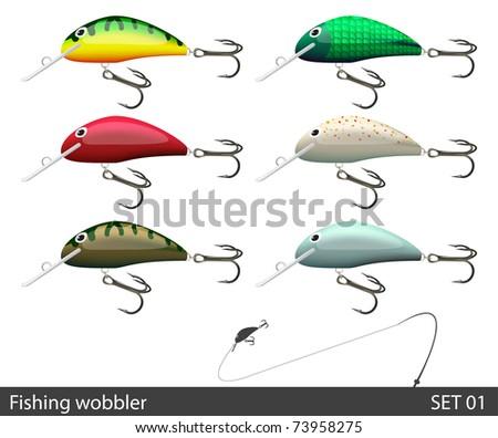 set of fishing wobble vector