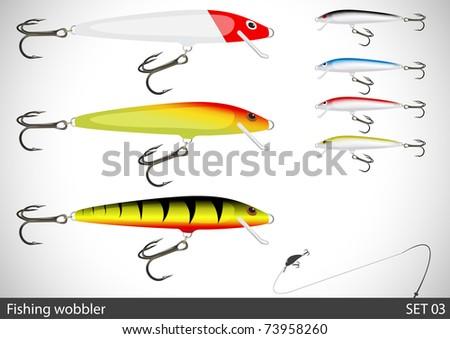 set of fishing wobbler vector