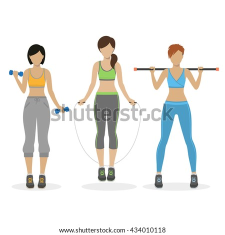 set of fitness girls working