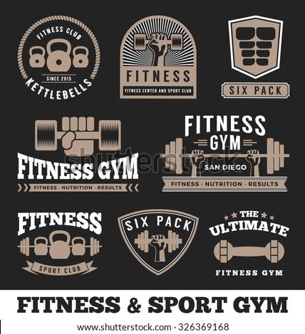 Set of fitness gym and sport club logo emblem design. Vector illustration