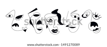 set of five abstract face one