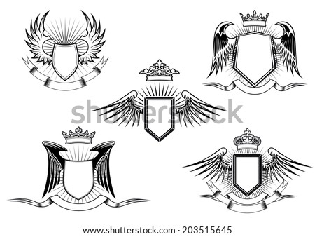 Set of five black and white vintage heraldic winged shields in different shapes with crowns above the shield and a blank banner below detailed calligraphic design elements