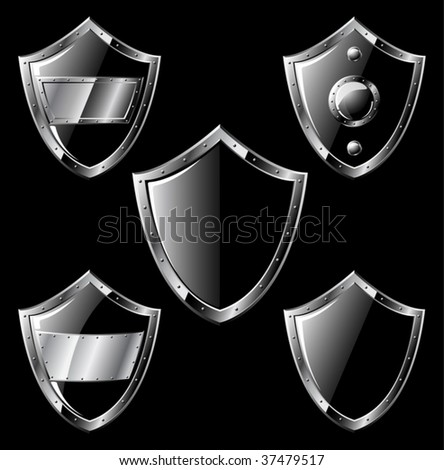 Set of five black steel triangle shields isolated on black - vector