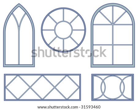 Set of five blueprints of decorative vector window designs for Window design clipart