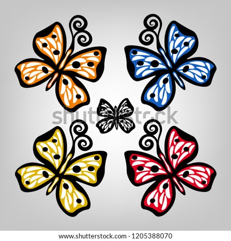 set of five butterflies of