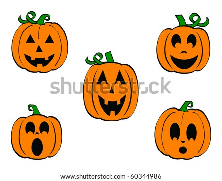 Set of Five carved Pumpkins/Jack O'Lanterns with different expressions
