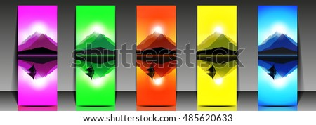set of five colorful mountain