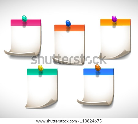 Set of five colorful pinned blank sheets of paper - vector illustration for your business presentations.