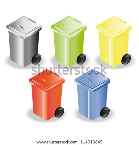Set of five containers for rubbish sorting