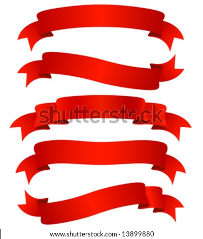 set of five curled red ribbons, vector illustration